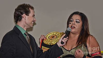 Championship Ring Digital Art - Ring Announcer Kevin Lacy Interviewing The Champion Ruby Raze by Jim Fitzpatrick