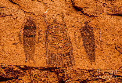 Native American Style Photograph - Intestine Man Pictograph - Moab - Utah by Gary Whitton