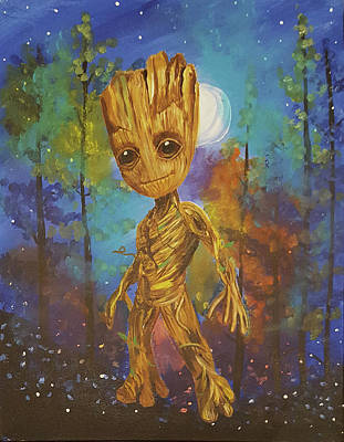 Painting - Into The Eyes Of Baby Groot by Nicole Burnett
