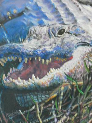 The Nature Center Painting - Into The Face Of An Ancient Preditor by Pamela Preciado