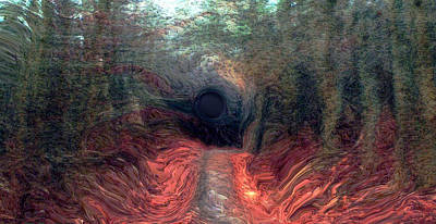 Spooky Digital Art - Into The Forest by Linda Sannuti