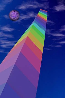 Peaceful Coexistence Digital Art - Into The Future - Rainbow Monolith And Planet by Mitch Spence