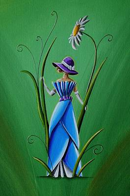 Green Fairy Painting - Into The Garden by Cindy Thornton