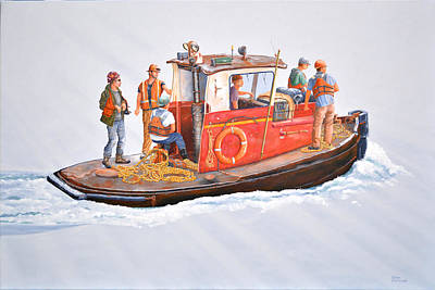 Tugboat Wall Art - Painting - Into The Mist-the Crew Boat by Gary Giacomelli