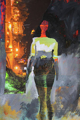 Mixed Media - Into The Night by Nancy Merkle