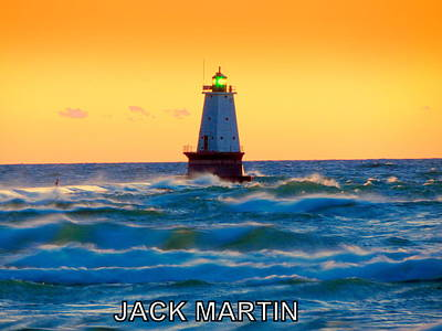 Into The Storm Ludington Michigan Waves And Sunset Skies Print by Jack Martin