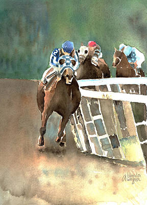 Race Horse Painting - Into The Stretch And Headed For Home-secretariat by Arline Wagner