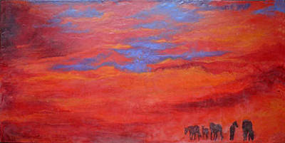 Encaustic Horse Painting - Into The Sunset by Gabrielle England