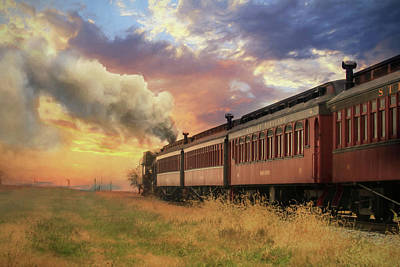 Rail Road Mixed Media - Into The Sunset by Lori Deiter