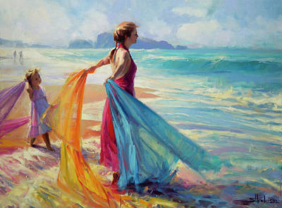 Beach Oil Painting - Into The Surf by Steve Henderson