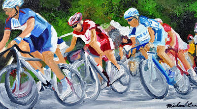 Triathlon Painting - Into The Turn by Michael Lee