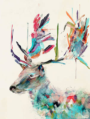 Stag Painting - Into The Wild by Bleu Bri
