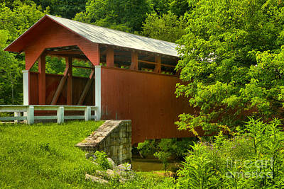 Photograph - Into The Woods At The Herline Covered Bridge by Adam Jewell