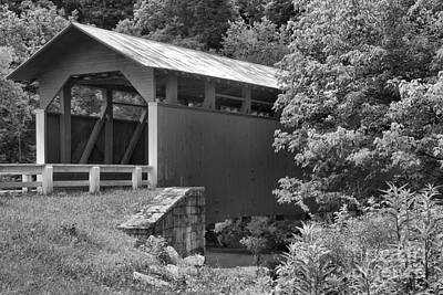 Photograph - Into The Woods At The Herline Covered Bridge Black And White by Adam Jewell