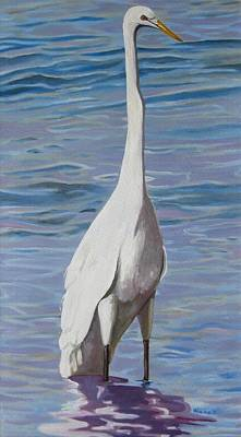 Painting - Intracoastal Sentinel   Great Egret by D T LaVercombe