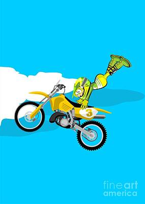 Intrepid Motocross Rider Jumping High Taken With His Hands Of The Motorbike Seat Art Print