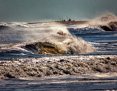 Photograph - Intrepid Surf Fishing At Delaware Seashore State Park by Bill Swartwout