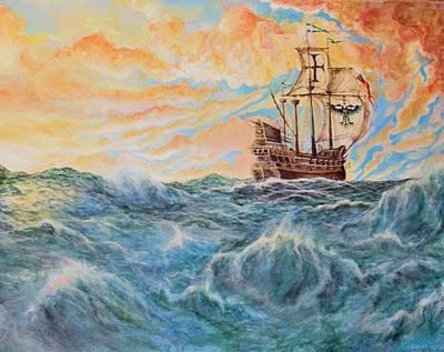 Spanish Galleons Painting - Intrepid Voyager  by Caleb Thomas