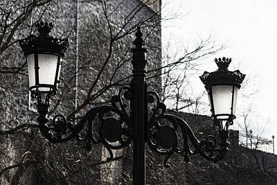 Photograph - Intricate Ironwork Streetlights - Black And White Retro Chic With Crowns by Georgia Mizuleva