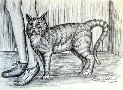 Portraits Drawing - Intrigue  The Cat by Georgia's Art Brush