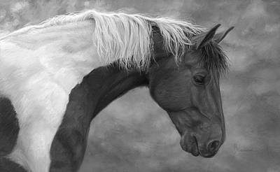 Paint Horse Painting - Intrigued - Black And White by Lucie Bilodeau