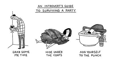 Anxiety Drawing - Introvert Guide To Surviving A Party by Tom Chitty