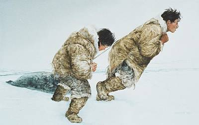 Nuit Painting - Inuit Hunters by Breen Bergstrome
