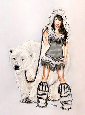 Painting - Inuit Pin-up Girl by Teresa Wing