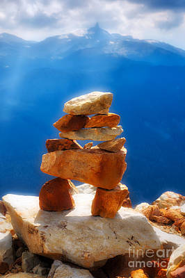 Inukshuk Photograph - Inuk In The Rockies by Colin Woods