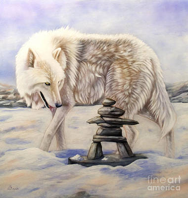 Wolf Portrait Painting - Inuksuk by Sandi Baker