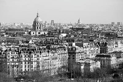 Photograph - Invalides Dome Saint Sulspice Bell Towers And Pantheon Dome Above Parisian Rooftops Black And White by Shawn O'Brien