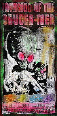 1957 Movies Mixed Media - Invasion Of The Saucer Men by Jd Kline