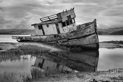 Point Reyes National Seashore Photograph - Inveness Shipwreck Black And White by Adam Jewell