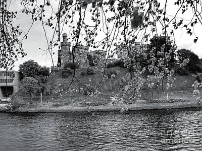 Bath Time - Inverness Castle In Monochrome by Joan-Violet Stretch