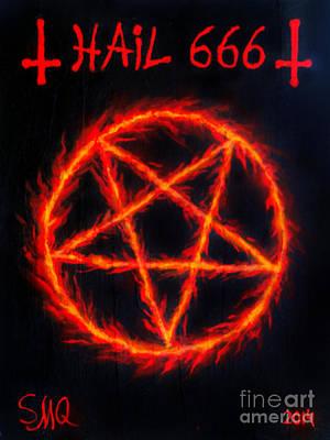 Pentagram Painting - Inverted Pentagram. Hail 666 by Sofia Metal Queen