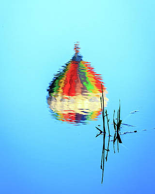 Photograph - Inverted Hot Air Balloon Reflection by John Vose