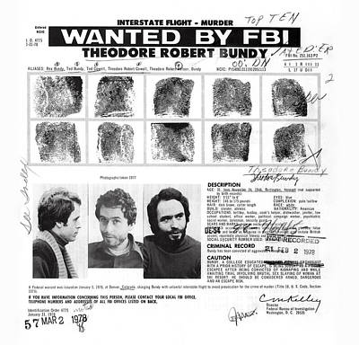 Investigator's Copy - Ted Bundy Wanted Document  1978 Art Print