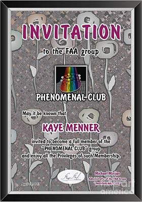 Photograph - Invitation To Phenomenal Club Faa by Kaye Menner