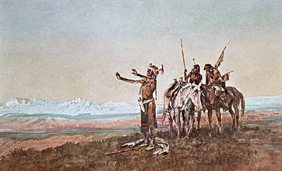 Old West Drawing - Invocation To The Sun by Charles Marion Russell