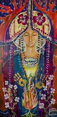Sacred Feminine Painting - Invoking Shekinah by Shiloh Sophia McCloud