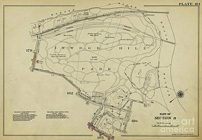 Art Print featuring the photograph Inwood Hill Park 1950's Map by Cole Thompson