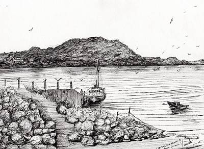 Water Vessels Drawing - Iona From Mull by Vincent Alexander Booth