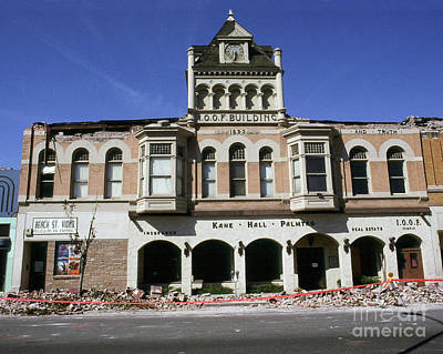 Photograph - I.o.o. F. Building Built In 1893  Damaged By The Loma Prieta Earthquake 1989 by California Views Mr Pat Hathaway Archives