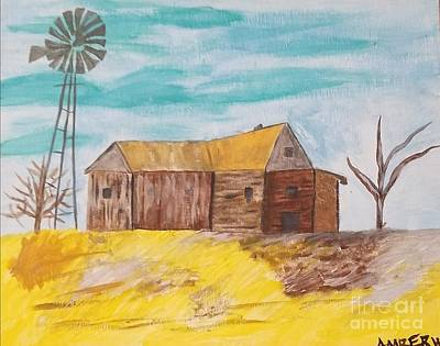 Abstract Windmill Painting - Iowa by Amber Waltmann