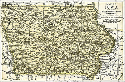 Photograph - Iowa Antique Map 1891 by Phil Cardamone