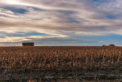 Photograph - Iowa Corn Fields In The Fall by Edward Peterson