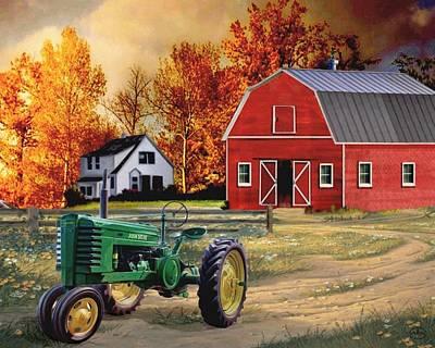 Wagon In A Barn Painting - Iowa Farm 2 by Ron Chambers