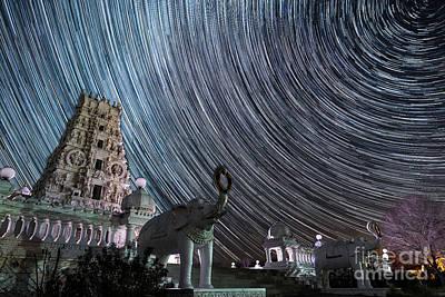 Photograph - Iowa Hindu Temple Star Trail by Willard Sharp