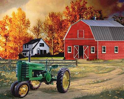 Horse In Autumn Painting - Iowa John Deere by Ron Chambers