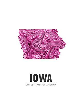 Mixed Media - Iowa Map Art Abstract In Purple by Studio Grafiikka
